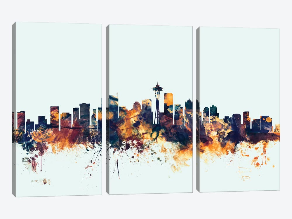 Skyline Series: Seattle, Washington, USA On Blue by Michael Tompsett 3-piece Canvas Artwork