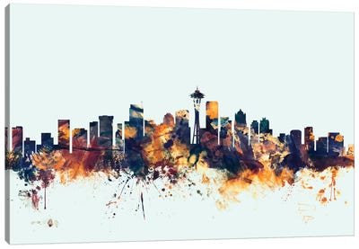 Seattle, Washington, USA On Blue Canvas Art Print