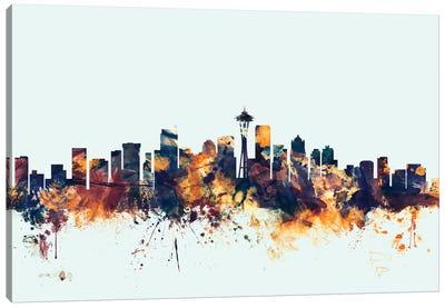 Seattle, Washington, USA On Blue Canvas Art Print