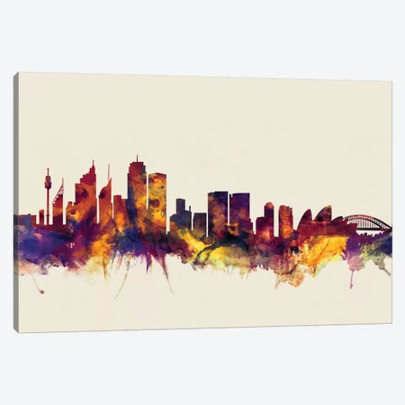 Sydney, Australia On Beige Canvas Print #MTO416} by Michael Tompsett Canvas Print