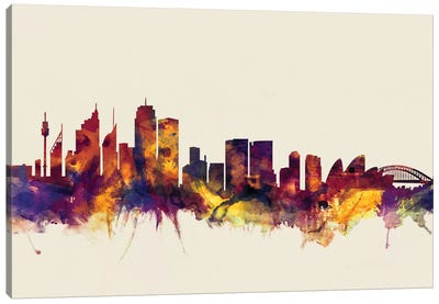 Sydney, Australia On Beige Canvas Art Print