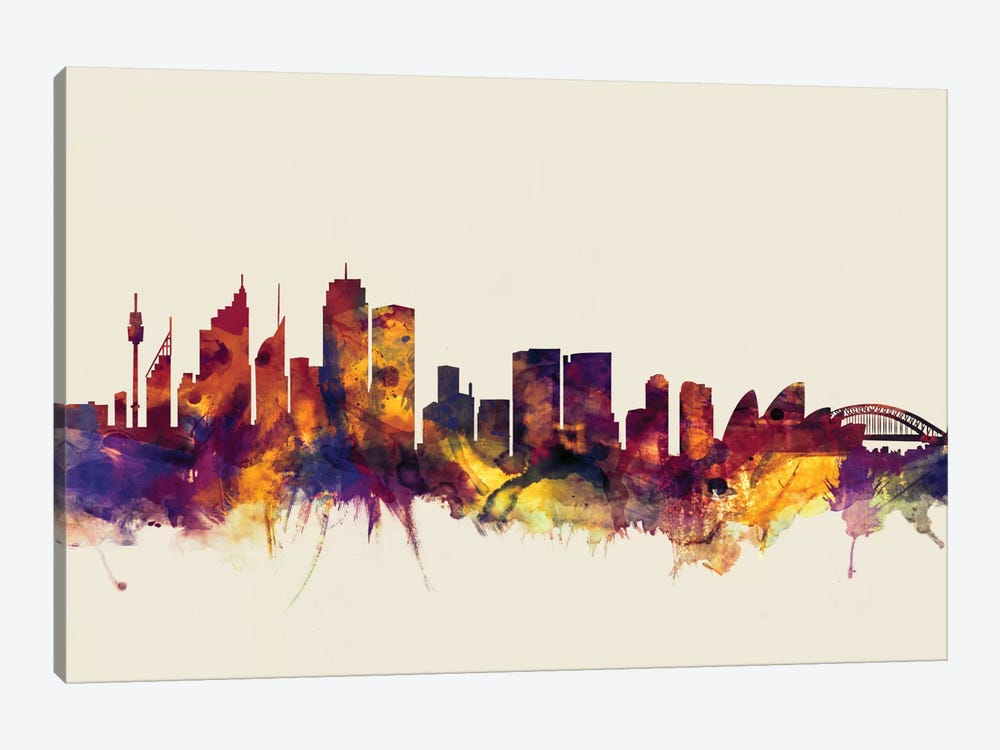 Skyline Series: Sydney, Australia On Beige by Michael Tompsett 1-piece Art Print