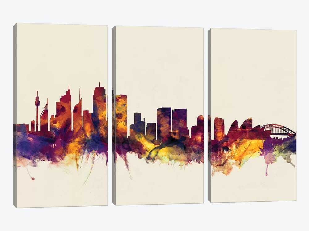 Sydney, Australia On Beige by Michael Tompsett 3-piece Canvas Art Print
