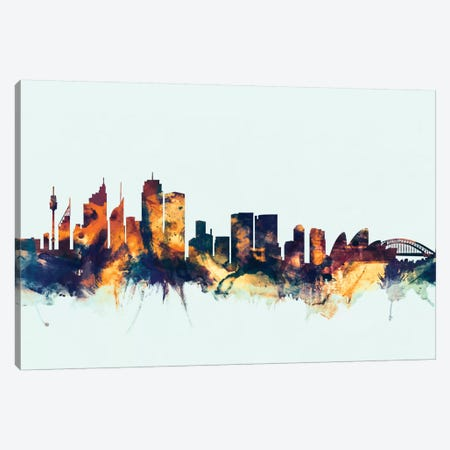 Sydney, Australia On Blue Canvas Print #MTO417} by Michael Tompsett Canvas Art Print