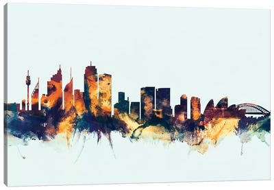 Skyline Series: Sydney, Australia On Blue Canvas Art Print