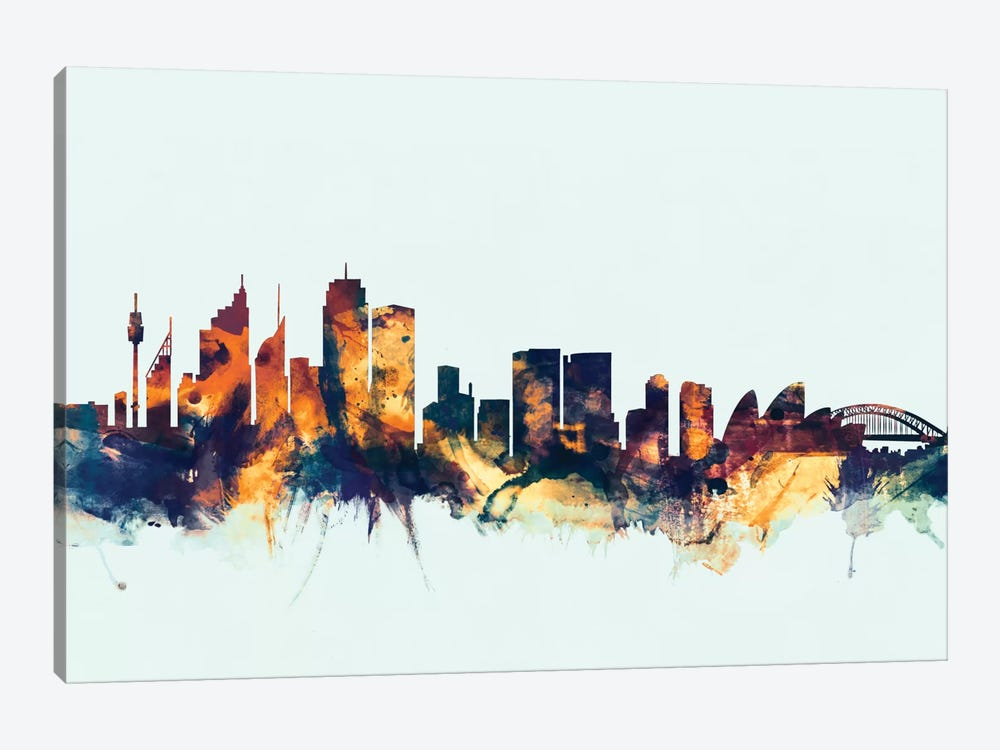 Skyline Series: Sydney, Australia On Blue by Michael Tompsett 1-piece Canvas Wall Art
