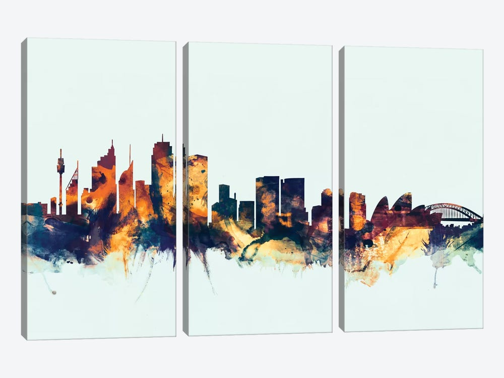Skyline Series: Sydney, Australia On Blue by Michael Tompsett 3-piece Canvas Art