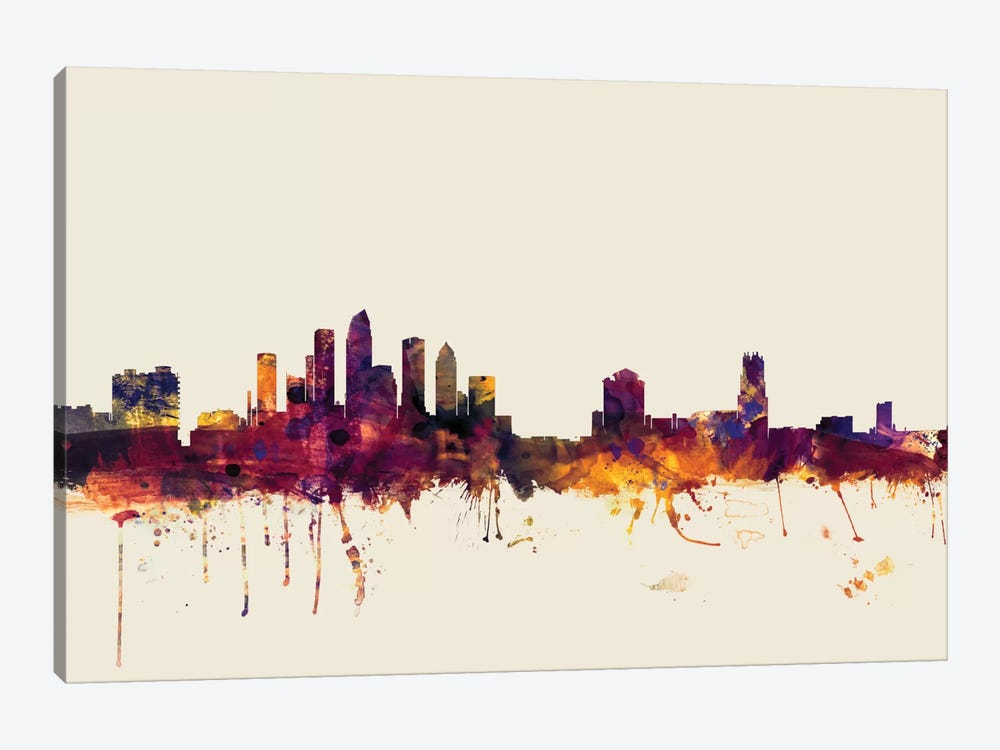 Skyline Series: Tampa, Florida, USA On Beige 1-piece Canvas Art Print