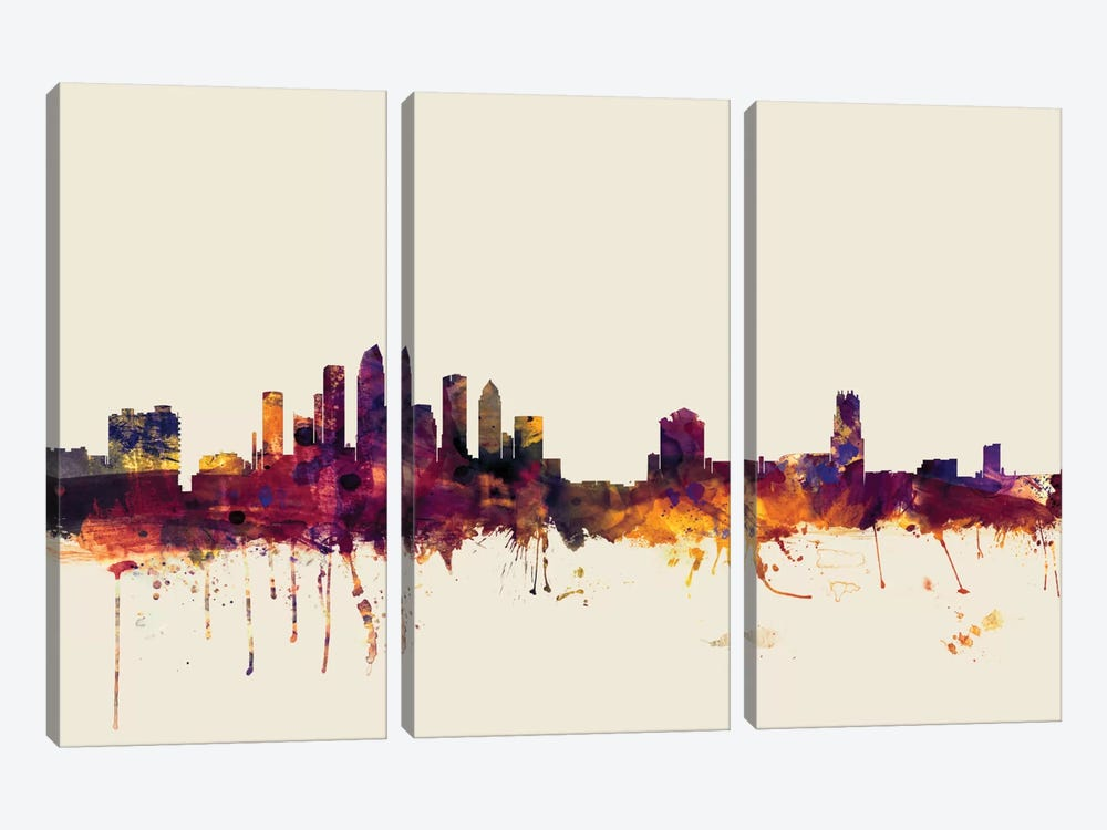 Skyline Series: Tampa, Florida, USA On Beige by Michael Tompsett 3-piece Canvas Art Print