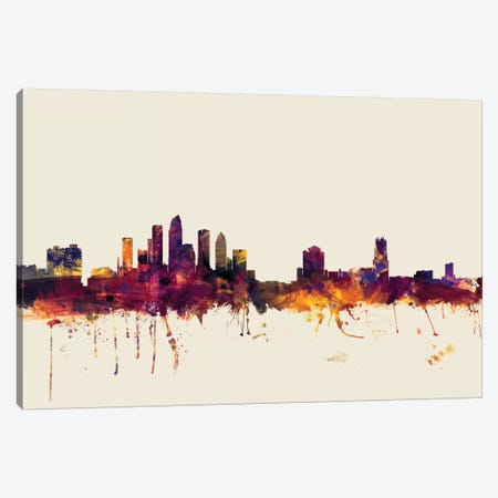 Tampa, Florida, USA On Beige Canvas Print #MTO418} by Michael Tompsett Canvas Artwork
