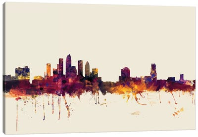 Tampa, Florida, USA On Beige Canvas Art Print