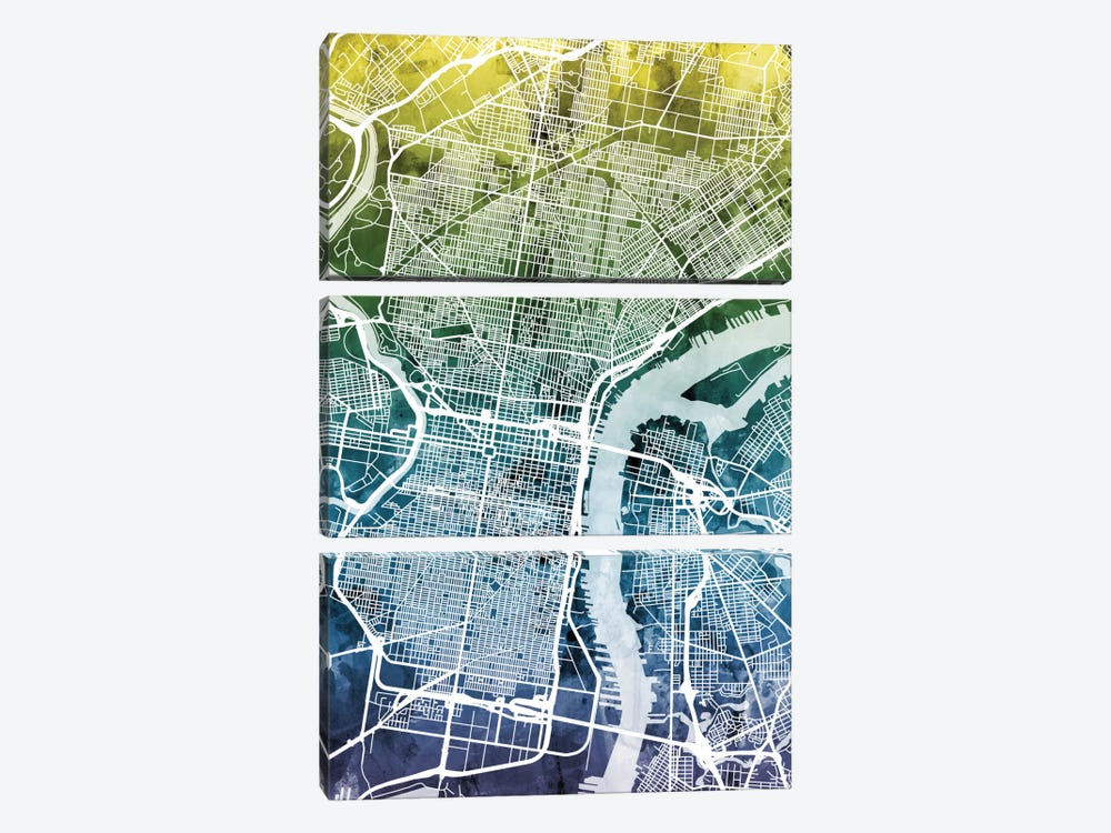 Color Gradient Urban Street Map Series: Philadelphia, Pennsylvania, USA by Michael Tompsett 3-piece Canvas Wall Art