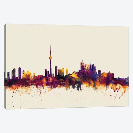 Toronto, Canada On Beige Canvas Print #MTO420} by Michael Tompsett Canvas Art Print
