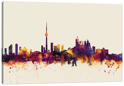 Skyline Series: Toronto, Canada On Beige Canvas Print #MTO420