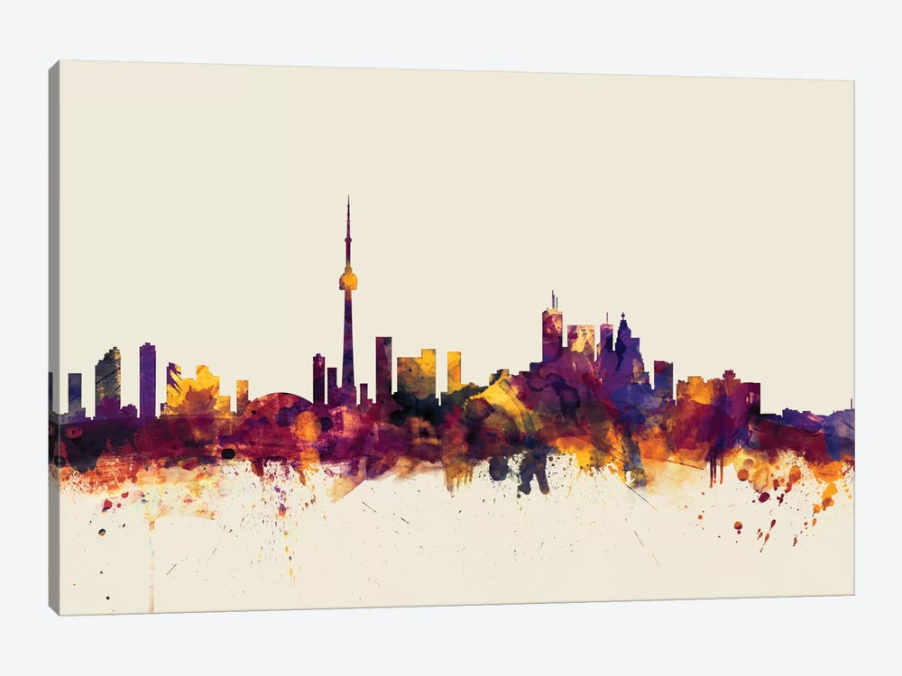 Toronto, Canada On Beige by Michael Tompsett 1-piece Canvas Artwork