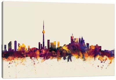 Toronto, Canada On Beige Canvas Art Print