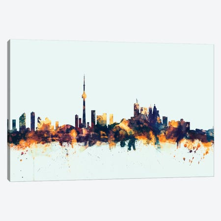 Toronto, Canada On Blue Canvas Print #MTO421} by Michael Tompsett Canvas Art Print