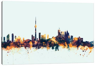 Skyline Series: Toronto, Canada On Blue Canvas Print #MTO421