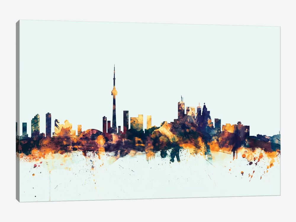 Toronto, Canada On Blue by Michael Tompsett 1-piece Art Print
