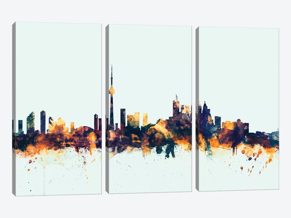 Toronto, Canada On Blue by Michael Tompsett 3-piece Canvas Print