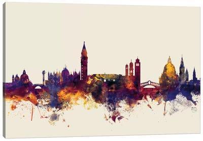 Skyline Series: Venice, Italy On Beige Canvas Print #MTO422