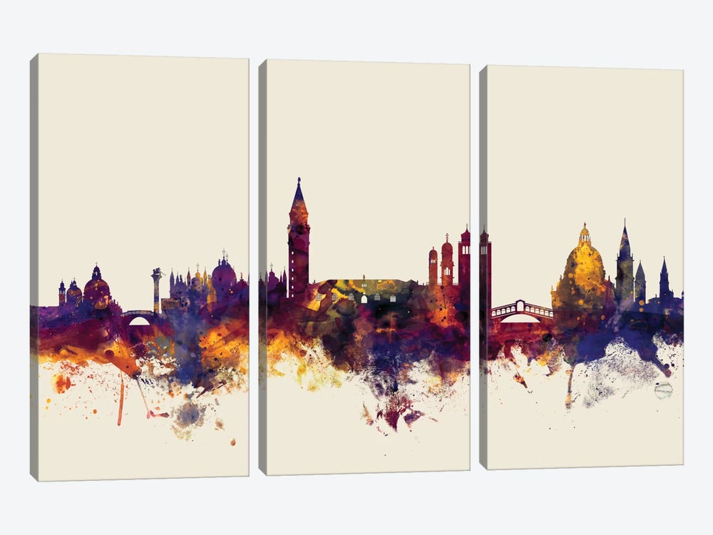 Skyline Series: Venice, Italy On Beige by Michael Tompsett 3-piece Canvas Artwork
