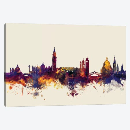 Venice, Italy On Beige Canvas Print #MTO422} by Michael Tompsett Art Print