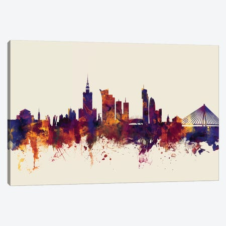 Warsaw, Poland On Beige Canvas Print #MTO423} by Michael Tompsett Canvas Print