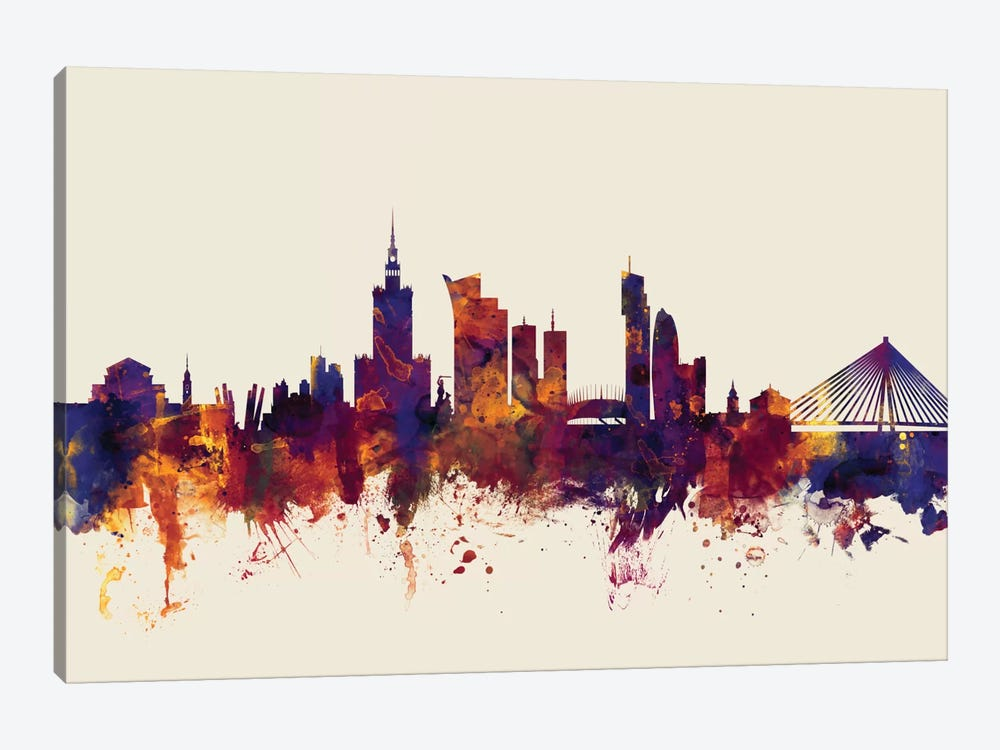 Skyline Series: Warsaw, Poland On Beige by Michael Tompsett 1-piece Canvas Art Print