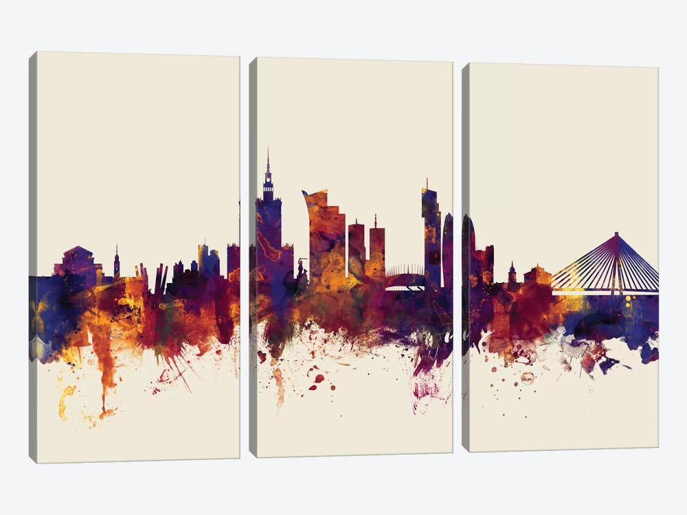 Skyline Series: Warsaw, Poland On Beige 3-piece Canvas Print
