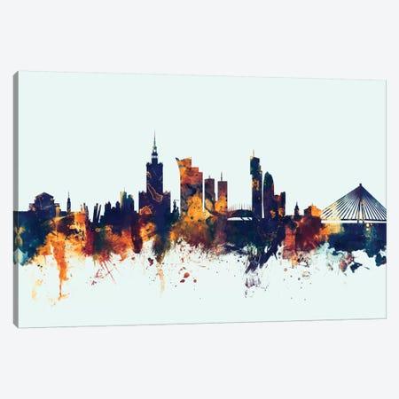Warsaw, Poland On Blue Canvas Print #MTO424} by Michael Tompsett Canvas Art