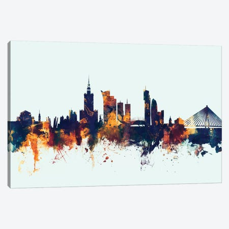 Warsaw, Poland On Blue Canvas Print #MTO424} by Michael Tompsett Canvas Art
