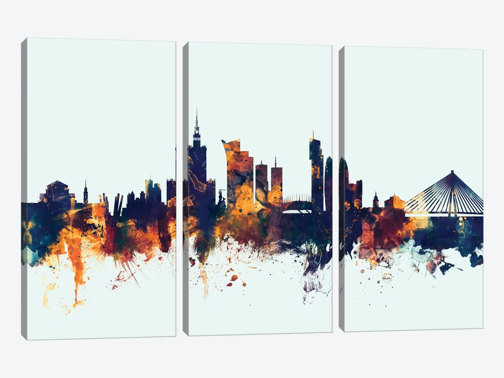 Warsaw, Poland On Blue by Michael Tompsett 3-piece Canvas Artwork