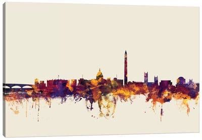 Skyline Series: Washington, D.C., USA On Beige Canvas Print #MTO425