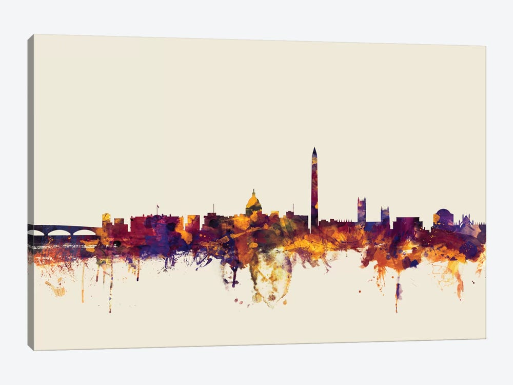 Skyline Series: Washington, D.C., USA On Beige by Michael Tompsett 1-piece Canvas Art Print