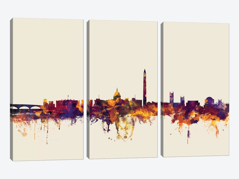 Skyline Series: Washington, D.C., USA On Beige by Michael Tompsett 3-piece Canvas Art Print