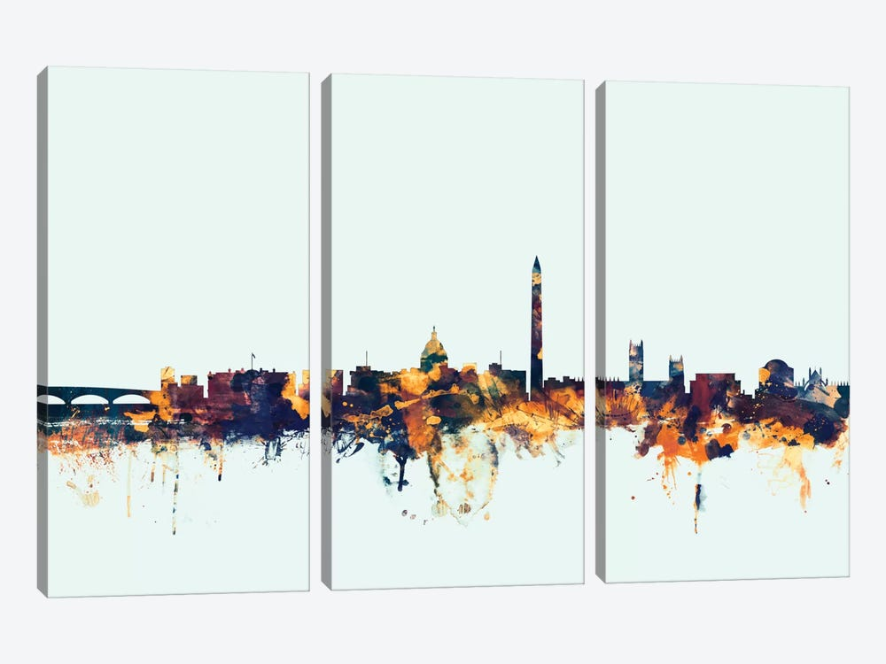 Skyline Series: Washington, D.C., USA On Blue by Michael Tompsett 3-piece Canvas Artwork