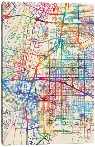 Urban Rainbow Street Map Series: Albuquerque, New Mexico, USA Canvas Print #MTO429