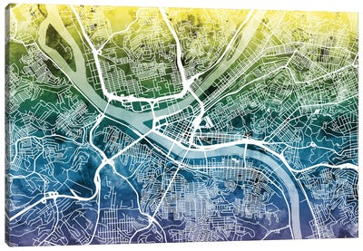 Color Gradient Urban Street Map Series: Pittsburgh, Pennsylvania, USA Canvas Art Print