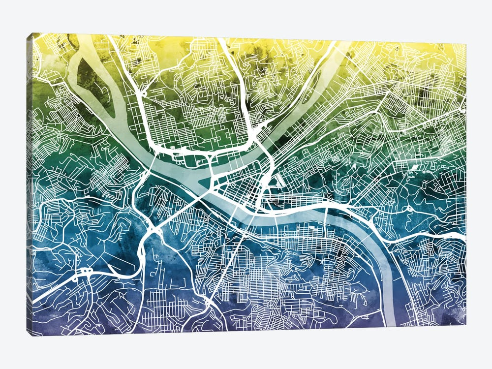 Color Gradient Urban Street Map Series: Pittsburgh, Pennsylvania, USA by Michael Tompsett 1-piece Canvas Art Print