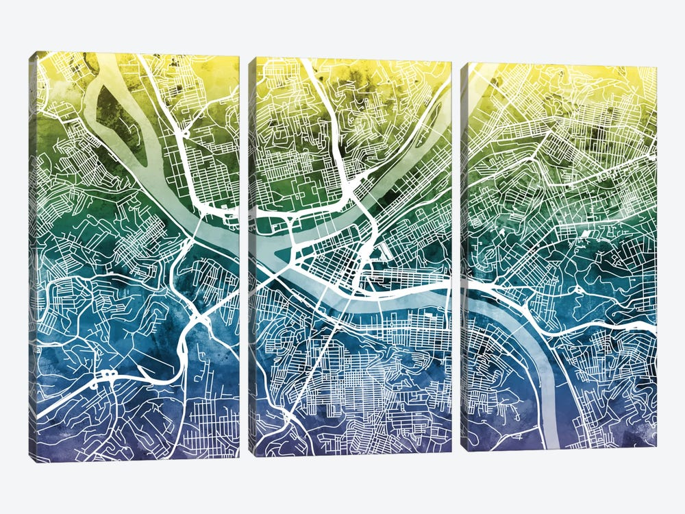 Color Gradient Urban Street Map Series: Pittsburgh, Pennsylvania, USA by Michael Tompsett 3-piece Canvas Print