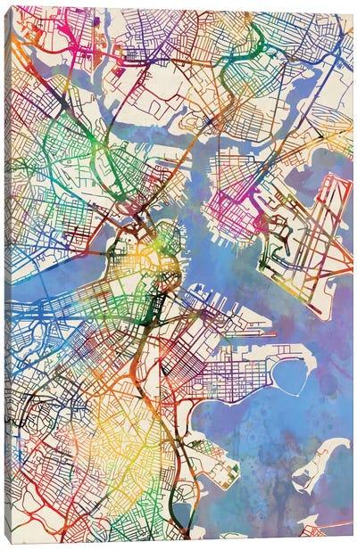 Urban Rainbow Street Map Series: Boston, Massachusetts, USA Canvas Print #MTO431