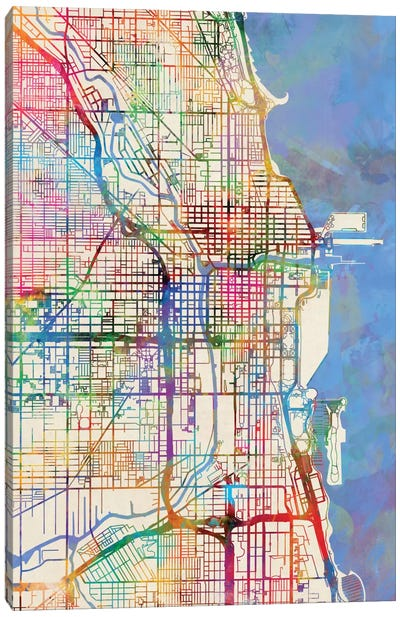 Urban Rainbow Street Map Series: Chicago, Illinois, USA Canvas Print #MTO432