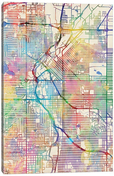 Urban Rainbow Street Map Series: Denver, Colorado, USA Canvas Print #MTO433