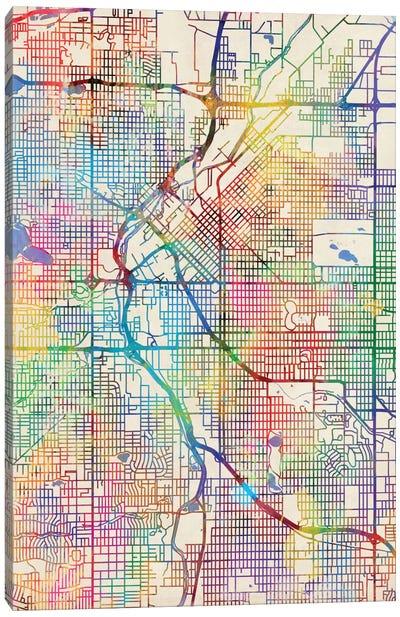 Urban Rainbow Street Map Series: Denver, Colorado, USA Canvas Print #MTO433