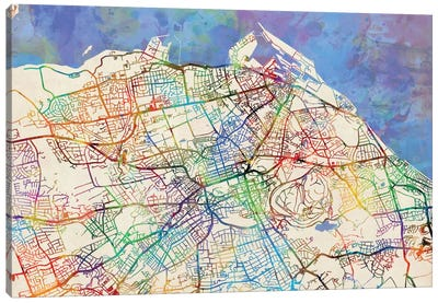 Urban Rainbow Street Map Series: Edinburgh, Scotland, United Kingdom Canvas Print #MTO434