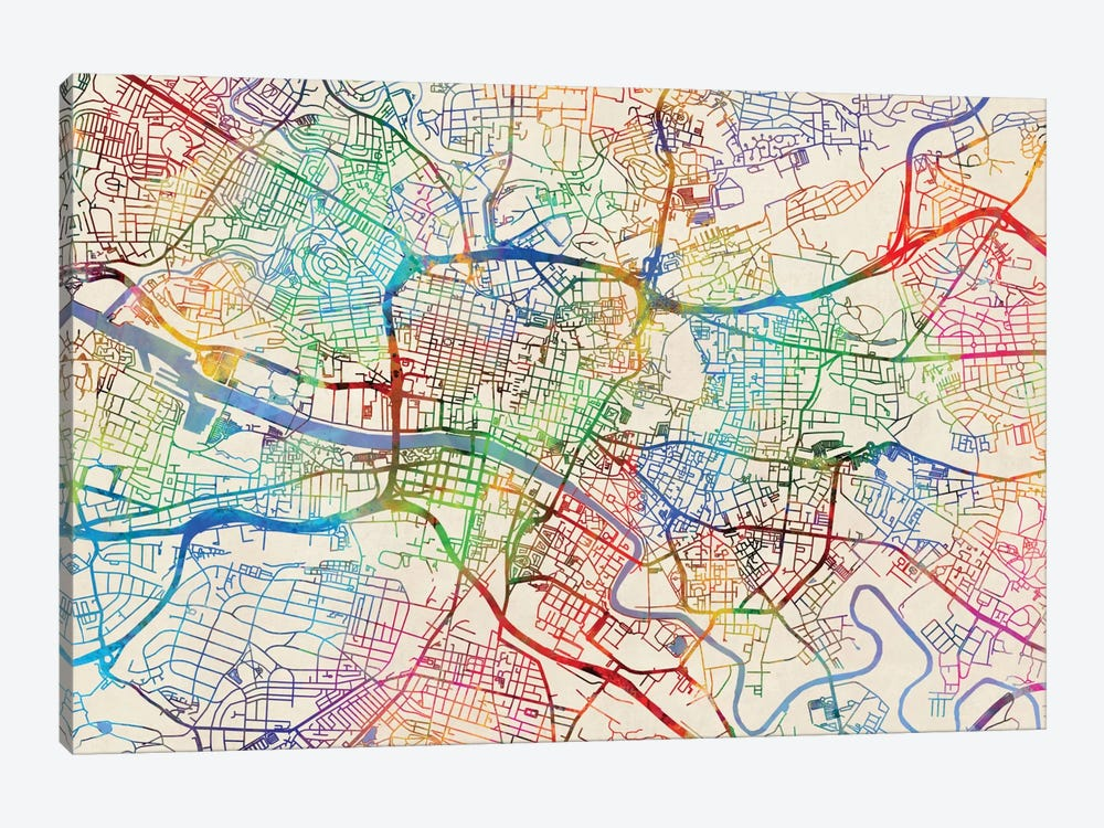 Urban Rainbow Street Map Series: Glasgow, Scotland, United Kingdom by Michael Tompsett 1-piece Canvas Artwork