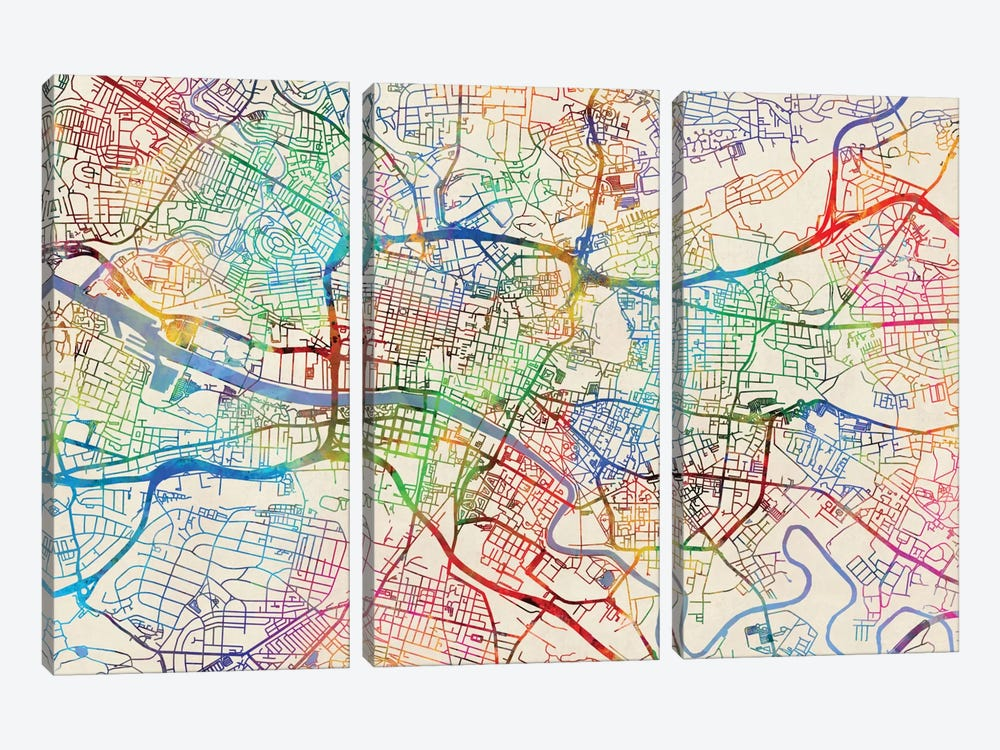 Urban Rainbow Street Map Series: Glasgow, Scotland, United Kingdom by Michael Tompsett 3-piece Canvas Wall Art