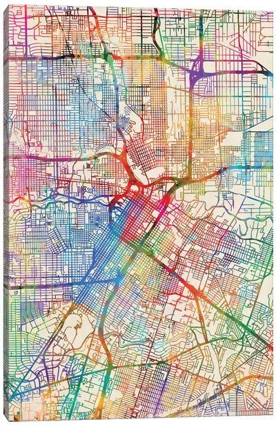Urban Rainbow Street Map Series: Houston, Texas, USA Canvas Print #MTO436