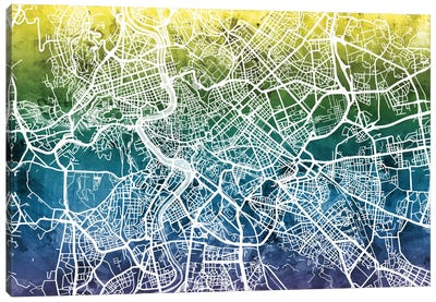 Color Gradient Urban Street Map Series: Rome, Italy Canvas Art Print